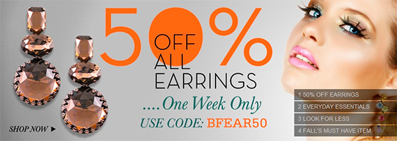 50% OFF all earrings