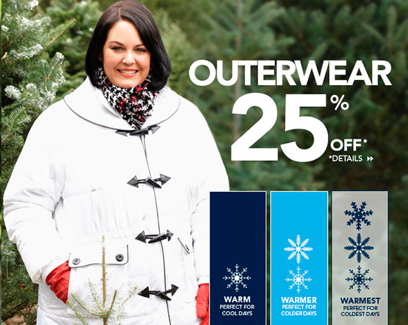 25% off plus-size coats & jackets