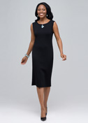 Boat neck sleeveless sheath dress