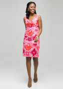 Mixed floral color twist front dress