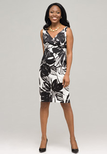 Black & White V-Neck Floral Dress