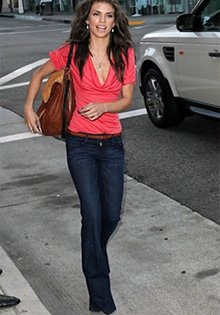 AnnaLynne McCord in the Black Orchid Black Beauty High Rise Flare Jeans