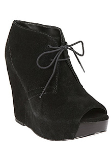 Analyze black suede bootie high lace up