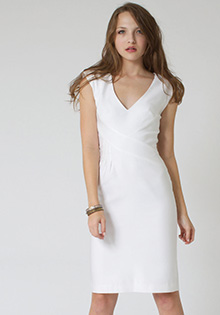 White jagger dress stretch cotton twill