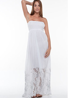 Elan Embroidered Strapless Maxi Dress