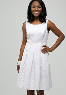White dress with jewel neckline