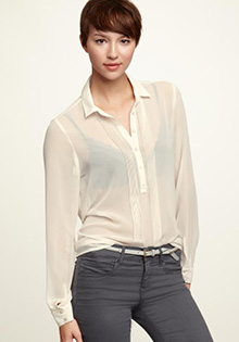 Pleated Henley Top