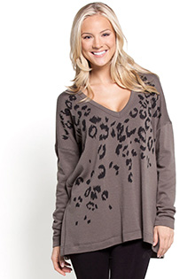 V Neck Cheetah Top