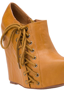 ZUP WEDGE BOOTIE MUSTARD LEATHER