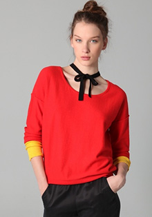 Colorblock Sweater with Neck Tie