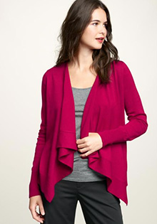 Draped open-front sweater