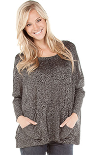 METALLIC DROP SHOULDER PULLOVER