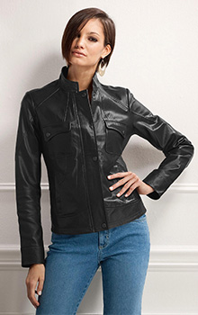 Covered Placket Leather Jacket