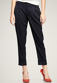 Pleated cropped trouser pants