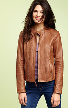 Whipstitched leather jacket
