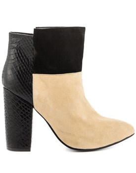 Allure Black Cream Suede Booties