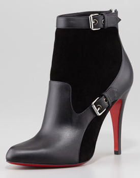 Christian Louboutin Canassone Buckled Suede Leather Bootie