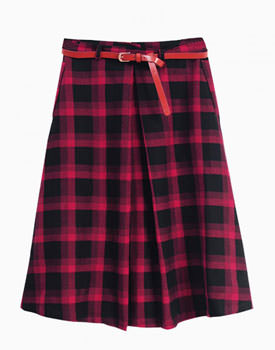 Wear tartan Red High Waist Checked Midi Skater Skirt