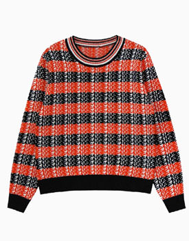 Loose Knit Sweater In Red Grid