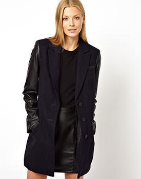 ASOS Coat With Contrast Sleeve