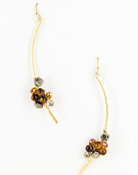 Tiger eye beaded branch earrings