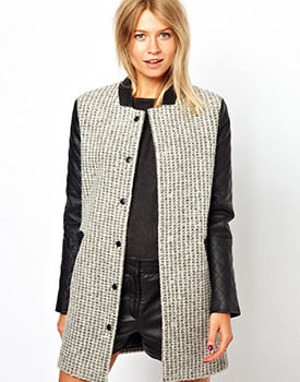 ASOS Coat With Contrast Quilt Sleeve