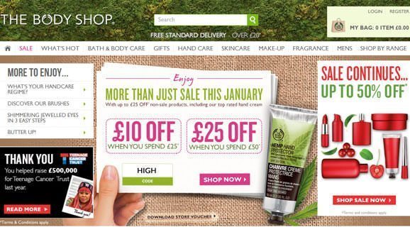 The Body Shop – Up to 50% SALE