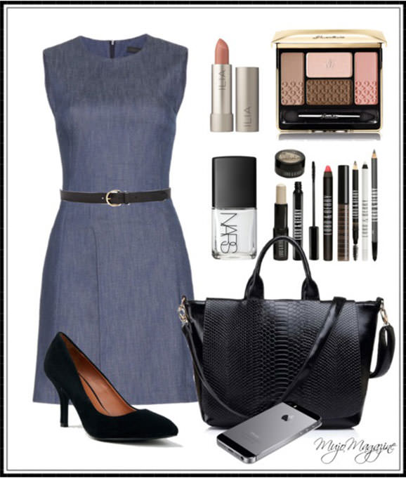 Black mid heel shoes with grey dress