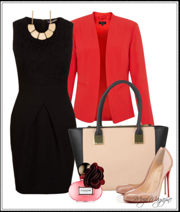 How to wear a red blazer with a dress - elegant outfit