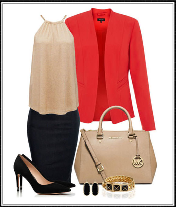 How to wear a red blazer with a skirt - office chic outfit