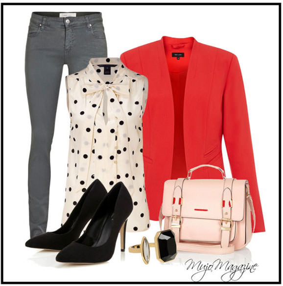 Red blazer with jeans - casual outfit