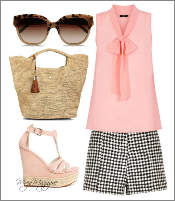 beachy outfit bow blouse and shorts