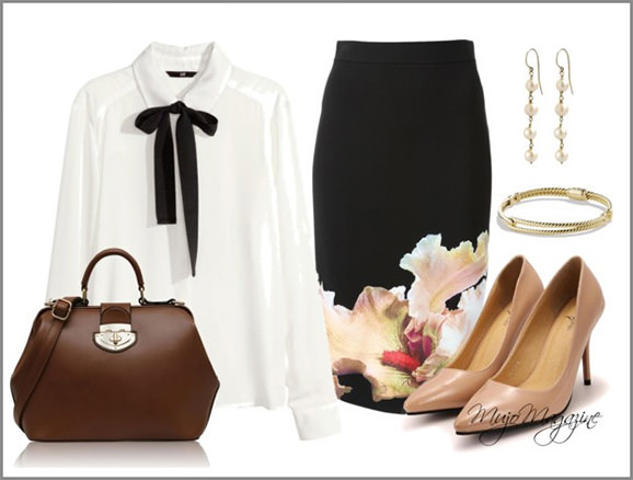 office outfit with bow blouse and skirt