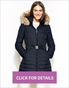 DKNY Hooded Belted Puffer Coat