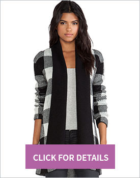 White Black Plaid Cardigan