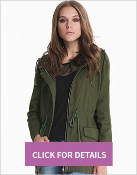 Green Hooded Outerwear
