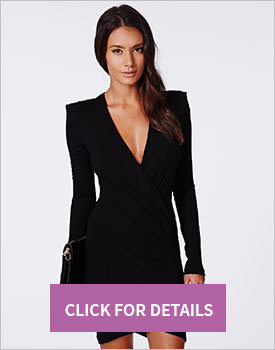 Black V-Neck Bodycon Dress