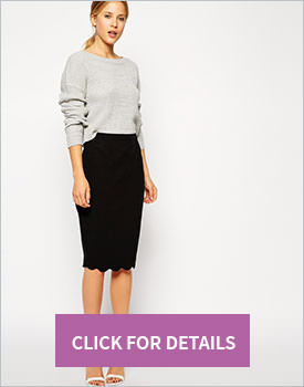 Pencil Skirt with Scallop Hem