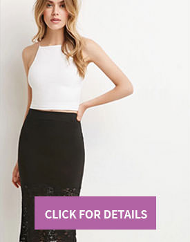 Lace Paneled Pencil Skirt