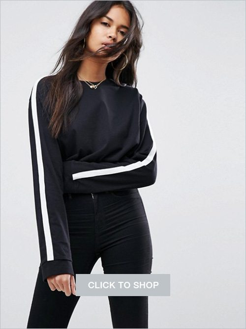 Asos crop top with contrast panel detailing