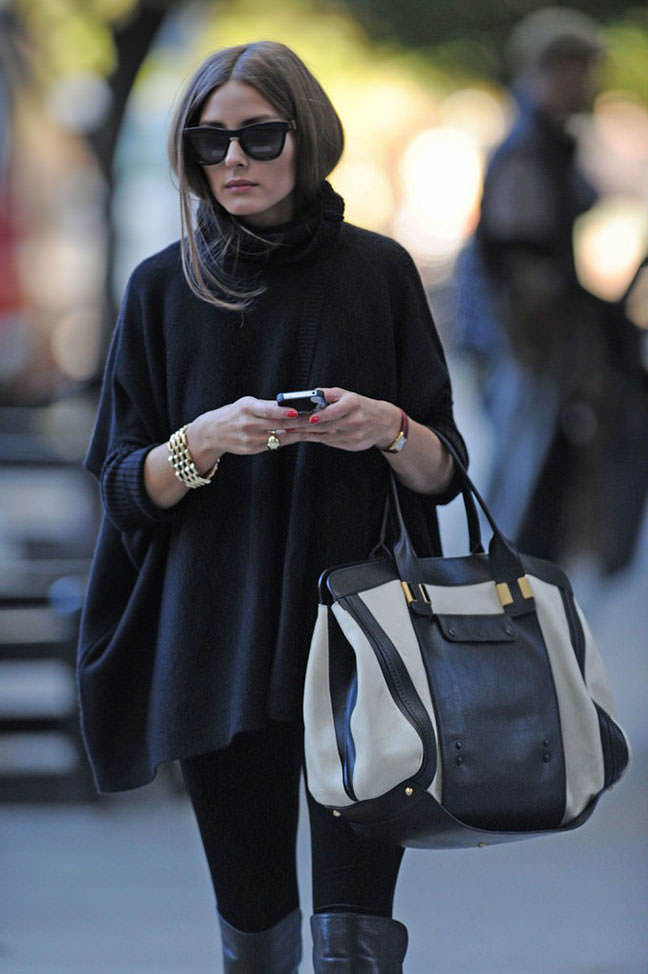 All Black Outfit with poncho