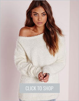 Off-shoulder Fluffy Sweater