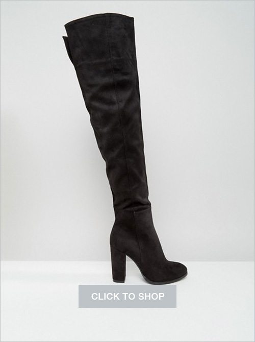 Daisy Street black heeled over-the-knee boots