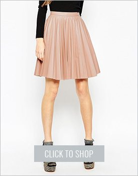 Asos Pleated Leather Look Skirt