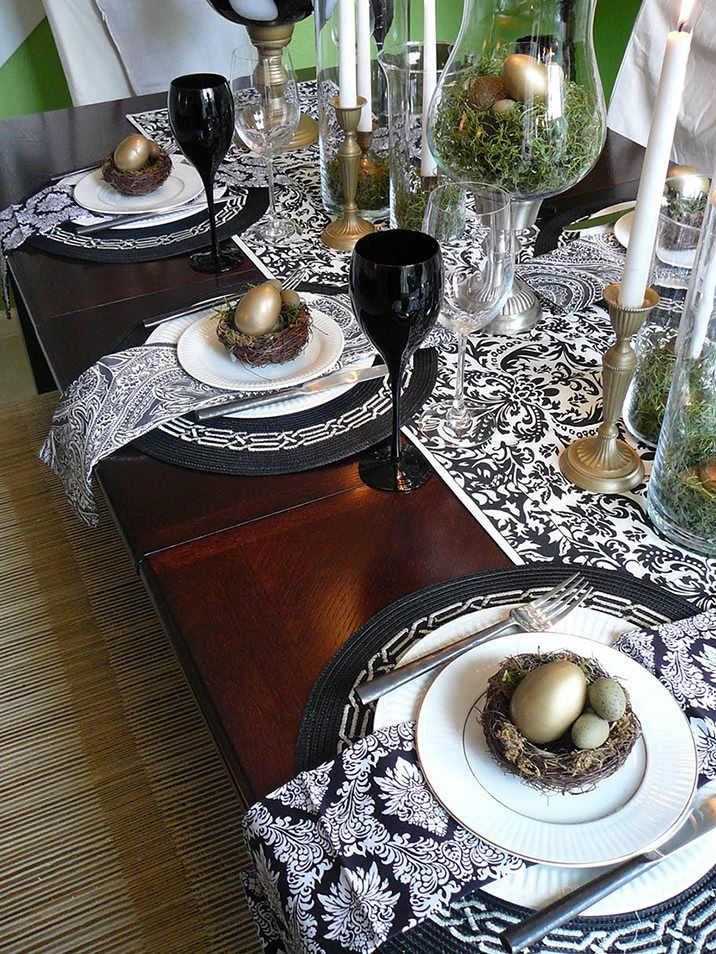 Ideas and decorations for the easter table mujo for Elegant easter table decorations