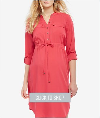 Motherhood maternity drawstring waist shirtdress