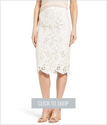 Halogen lace pencil skirt