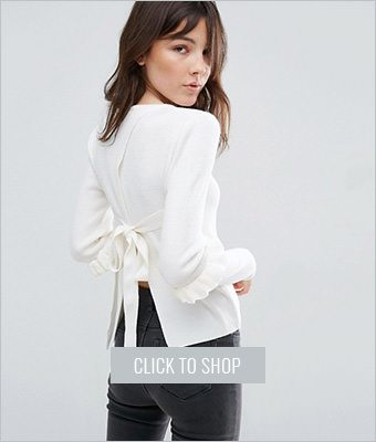 Asos sweater with frill sleeve and open back