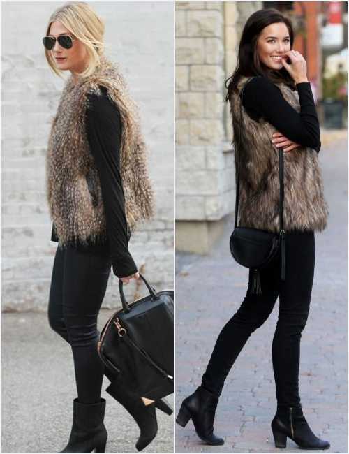all-black-outfit-brown-faux-fur-vest