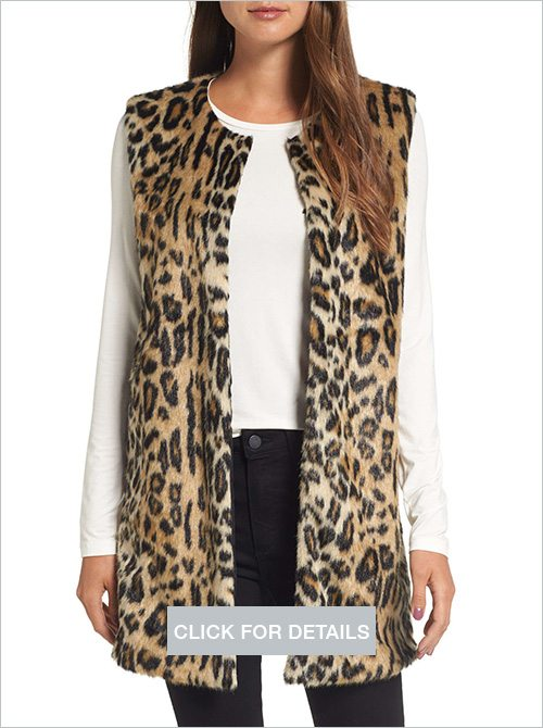 Love Token leopard faux fur vest